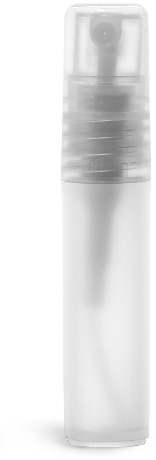 Plastic Vials, Natural Frosted Polypropylene Mini Cylinders w/ Natural Fine Mist Sprayers and Overcaps