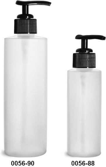 Plastic Bottles, Natural HDPE Cylinder Bottles w/ Black Ribbed Lotion Pumps