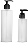 HDPE Plastic Bottles, Natural Cylinder Bottles w/ Black Ribbed Lotion Pumps