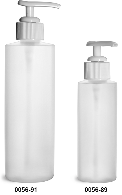 Plastic Bottles, Natural HDPE Cylinder Bottles w/ White Ribbed Lotion Pumps