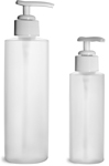 HDPE Plastic Bottles, Natural Cylinder Bottles w/ White Ribbed Lotion Pumps