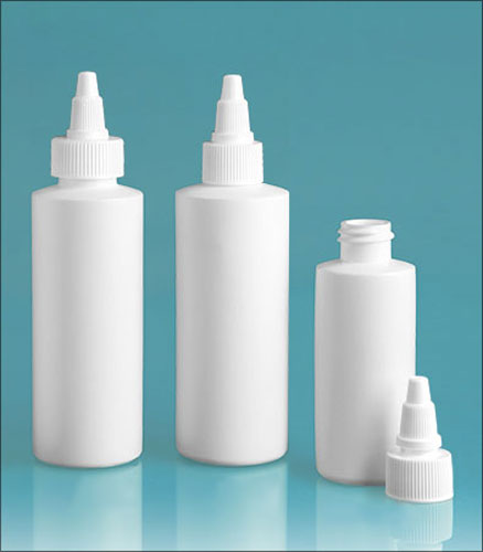 HDPE Plastic Bottles, White Cylinder Bottles w/ White Twist Top Caps