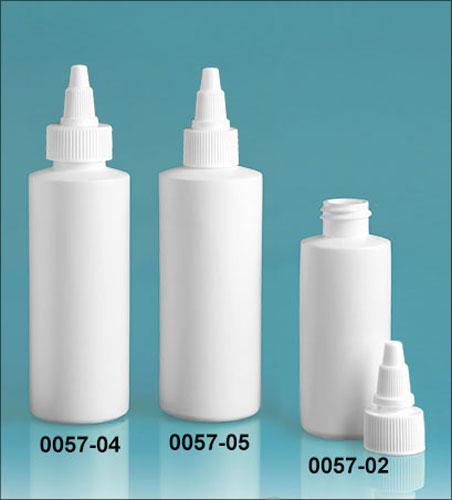 Plastic Bottles, White HDPE Cylinder Bottles w/ White Twist Top Caps