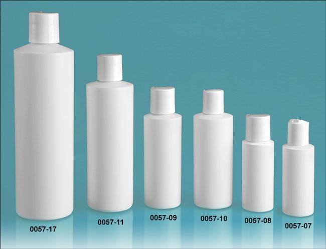 Plastic Bottles, White HDPE Cylinder Bottles w/ White Disc Top Caps