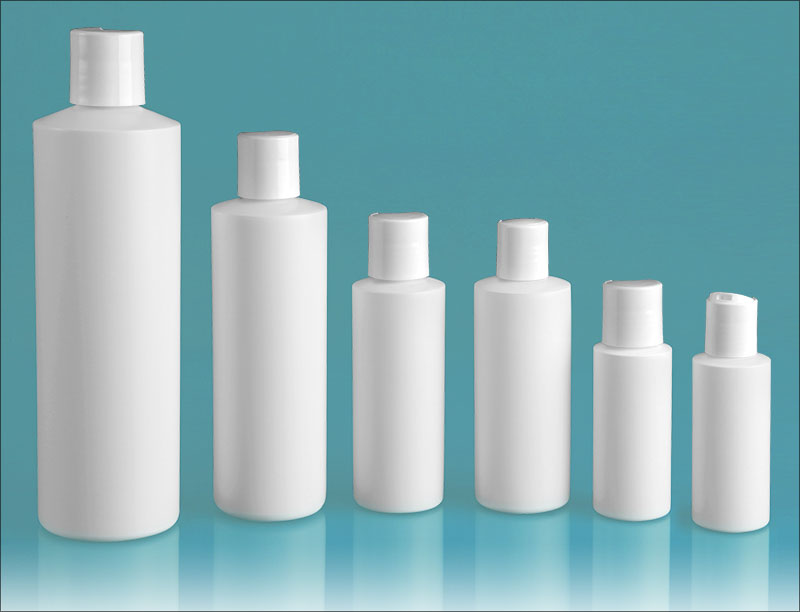 HDPE Plastic Bottles, White Cylinder Bottles w/ White Disc Top Caps