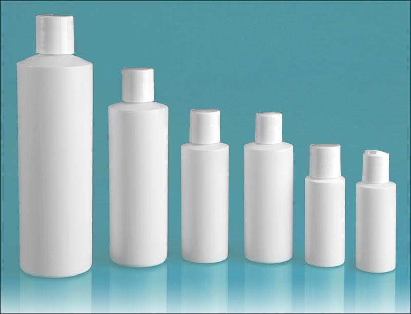 HDPE Plastic Bottles, White Cylinder Bottles w/ White Disc Top Caps