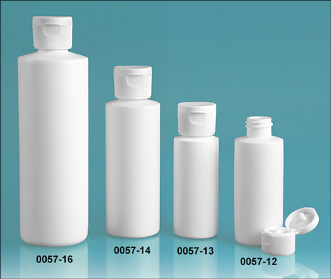 Plastic Bottles, White HDPE Cylinder Bottles w/ White Ribbed Snap Top Caps