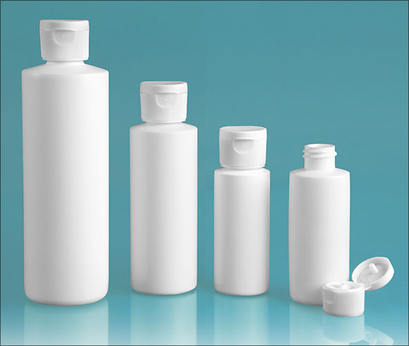 HDPE Plastic Bottles, White Cylinder Bottles w/ White Ribbed Snap Top Caps