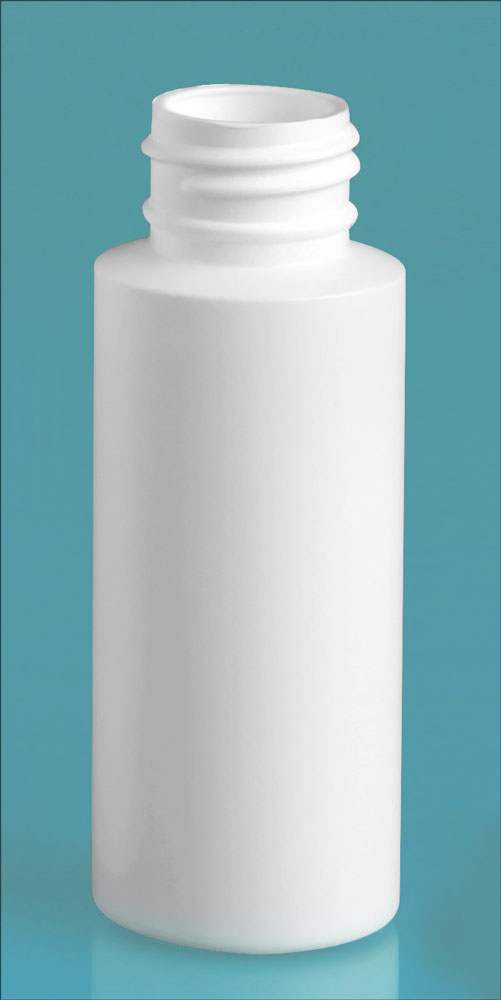 2 oz White HDPE Cylinders (Bulk), Caps NOT Included