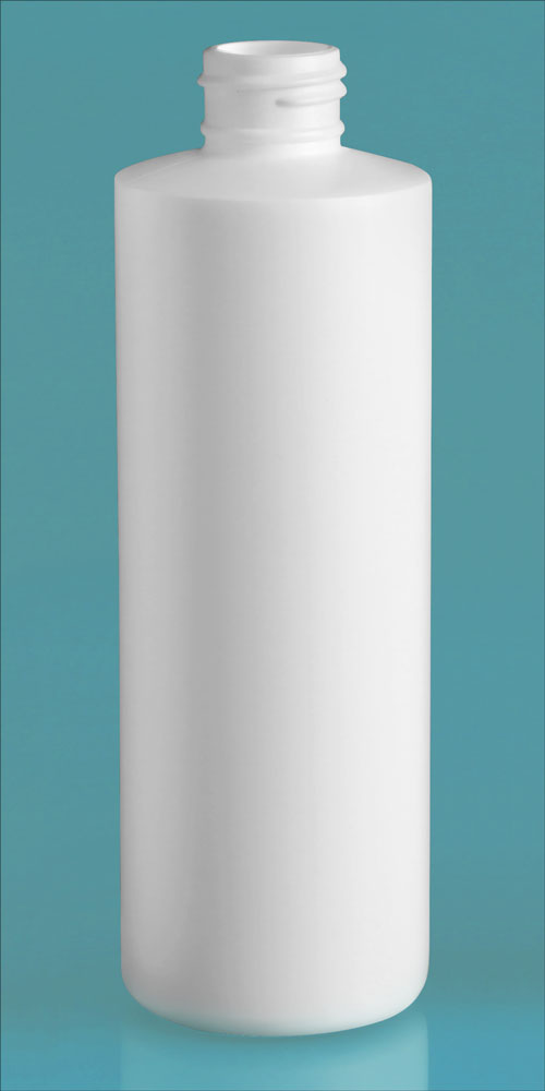 8 oz White HDPE Cylinders (Bulk), Caps NOT Included