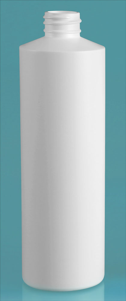 16 oz White HDPE Cylinders (Bulk) Caps NOT Included