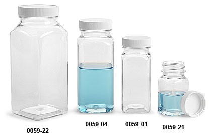 Plastic Bottles, Clear Square PET Bottles with White Ribbed Caps