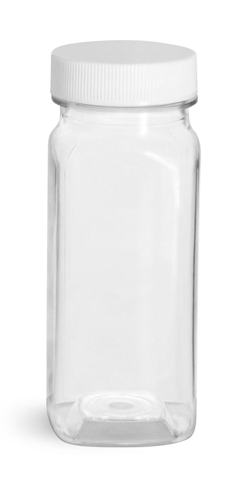 4 oz Plastic Bottles, Clear PET Square Bottles With White Ribbed Caps