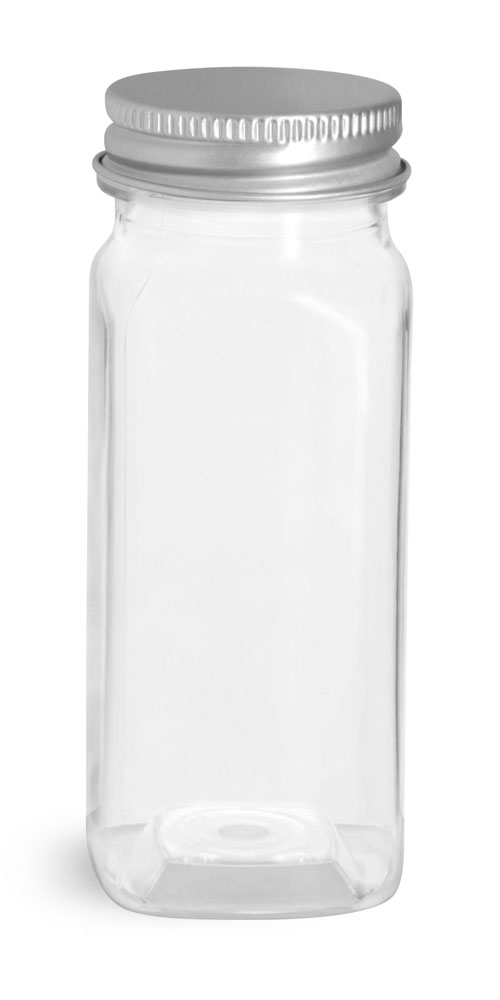 Clear PET Square Bottles w/ Lined Aluminum Caps