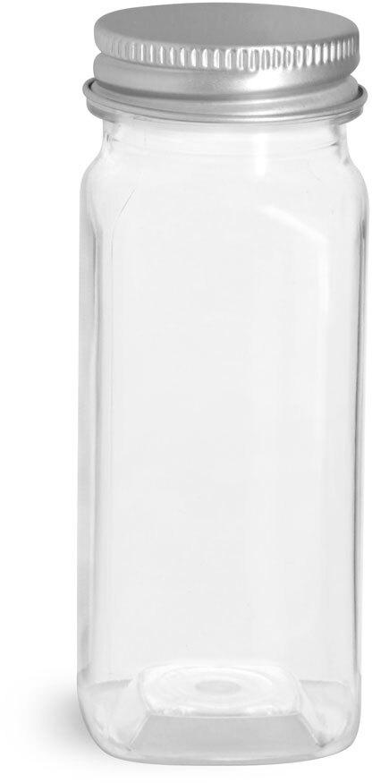 Clear PET Square Bottles w/ Lined Aluminum Caps
