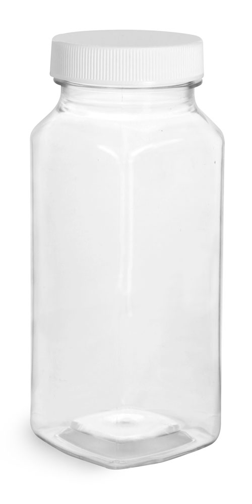8 oz Clear PET Square Bottles w/ White Ribbed Caps