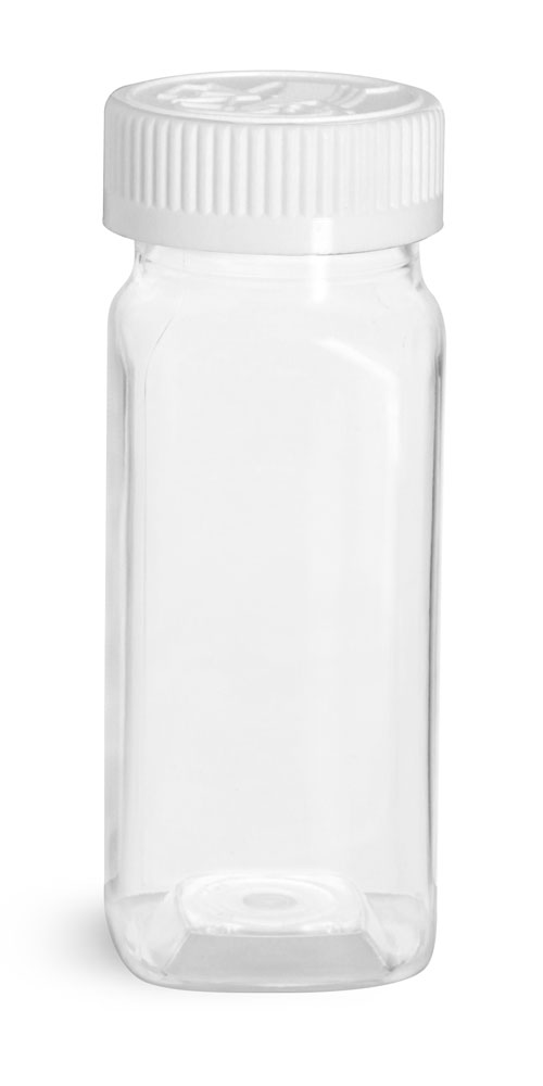 Clear PET Square Bottles w/ White Child Resistant Caps