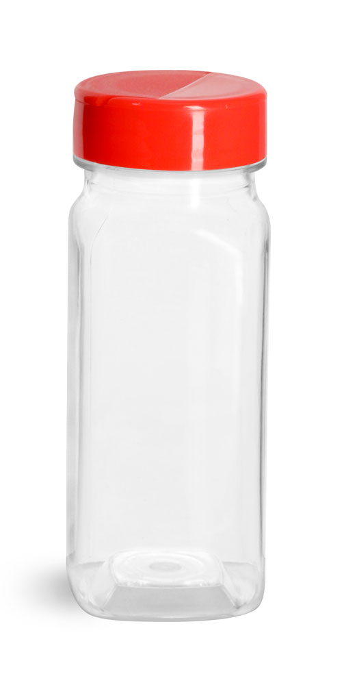 Clear PET Square Bottles w/ Red Polypro Spice Caps