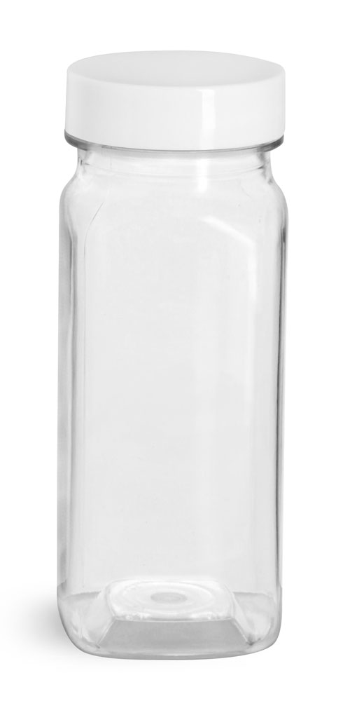 4 oz Clear PET Square Bottles w/ Smooth White F217 Lined Caps