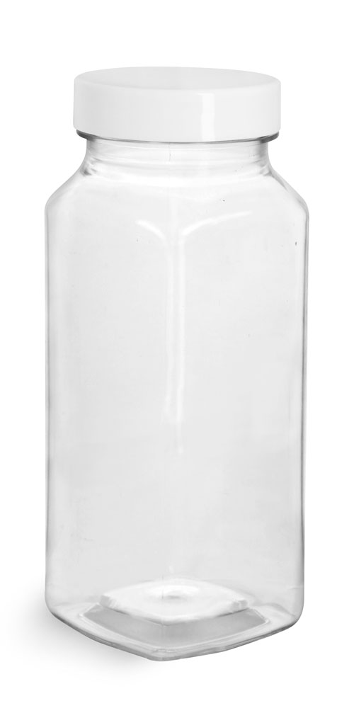 8 oz Clear PET Square Bottles w/ Smooth White F217 Lined Caps