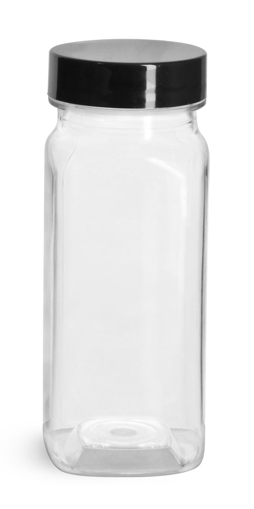 4 oz Clear PET Square Bottles w/ Smooth Black PE Lined Caps