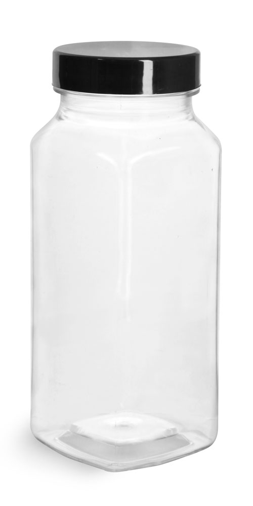 8 oz Clear PET Square Bottles w/ Smooth Black PE Lined Caps