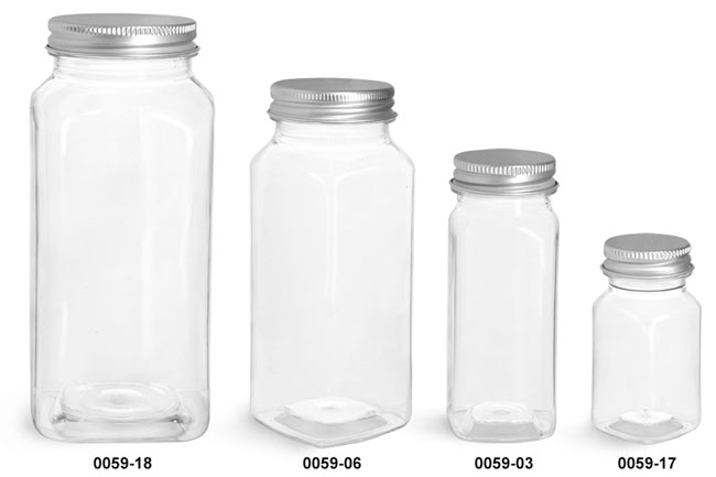 Plastic Bottles, Clear PET Square Bottles with Lined Aluminum Caps