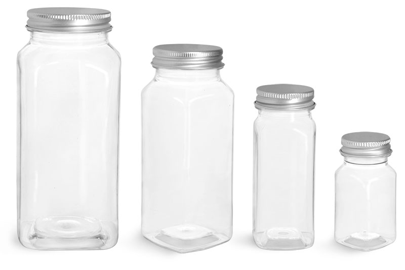 PET Plastic Bottles, Clear Square Bottles w/ Lined Aluminum Caps