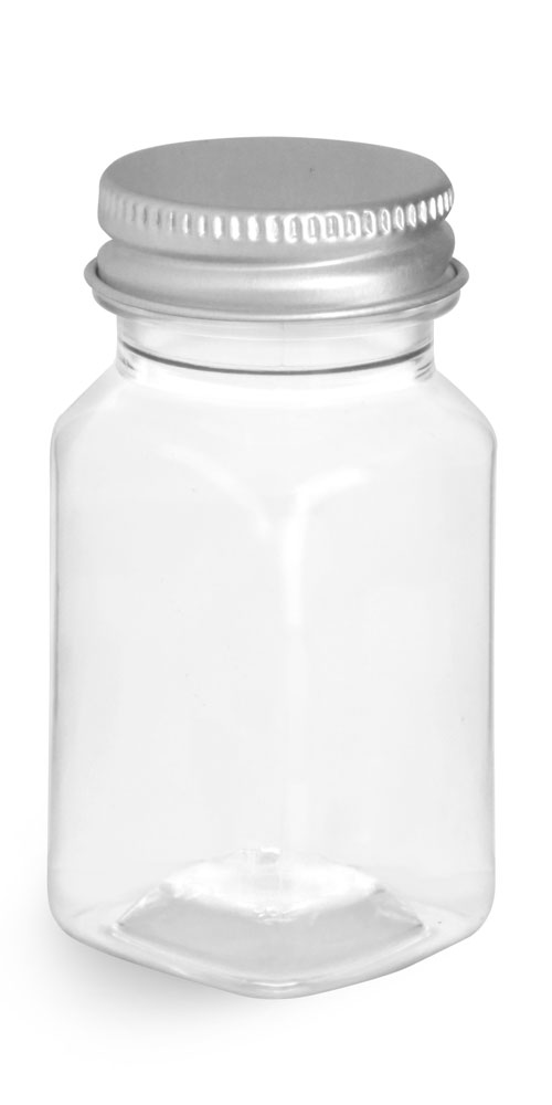 2 oz Clear PET Square Bottles w/ Lined Aluminum Caps