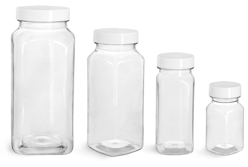 PET Plastic Bottles, Clear Square Bottles w/ Smooth White F217 Lined Caps