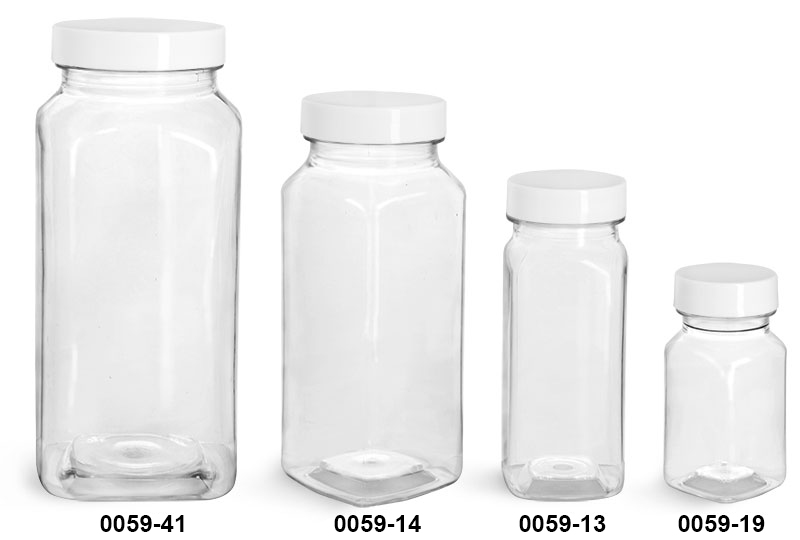 Plastic Bottles, Clear PET Square Bottles w/ White Smooth Plastic Lined Caps