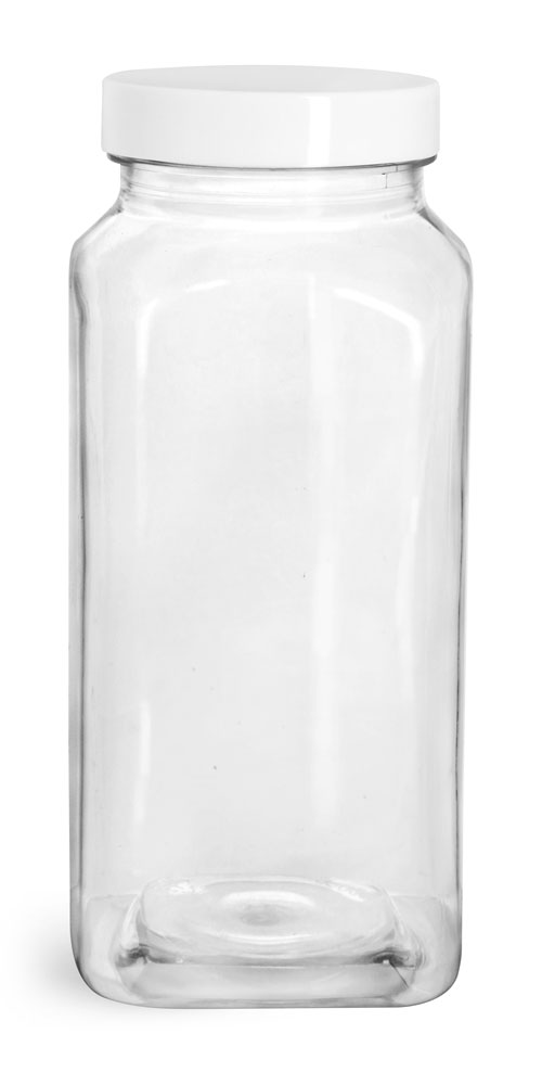 16 oz  Clear PET Square Bottles w/ Smooth White F217 Lined Caps
