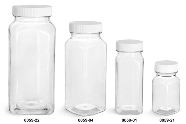 Plastic Bottles, Clear PET Square Bottles With White Ribbed Caps