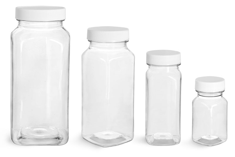 PET Plastic Bottles, Clear Square Bottles w/ White Ribbed Caps