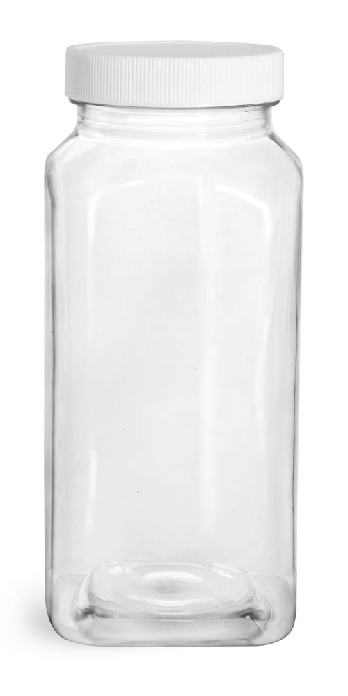 16 oz Clear PET Square Bottles w/ White Ribbed Caps