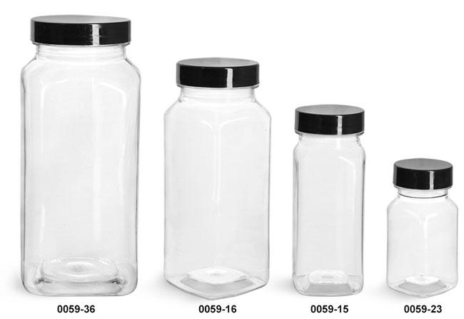 Plastic Bottles, Clear PET Square Bottles w/ Black Smooth Plastic Lined Caps
