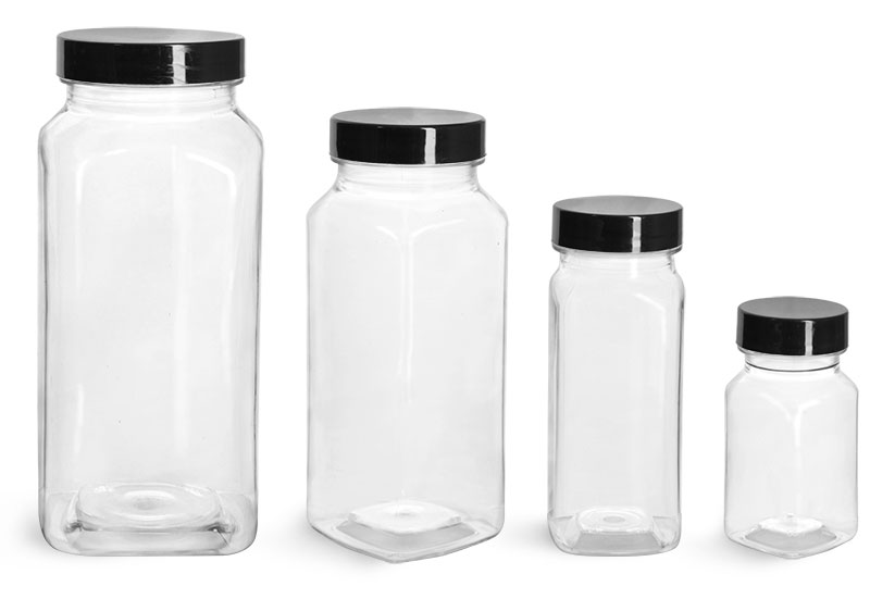 PET Plastic Bottles, Clear Square Bottles w/ Smooth Black F217 Lined Caps