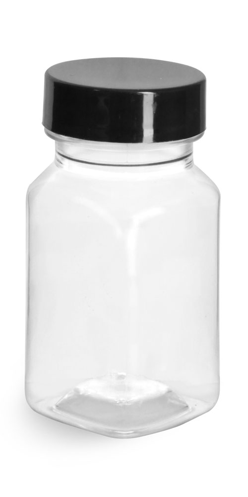 Clear PET Square Bottles w/ Smooth Black PE Lined Caps