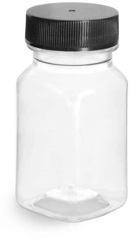 Clear PET Square Bottles w/ Black Ribbed PE Lined Caps