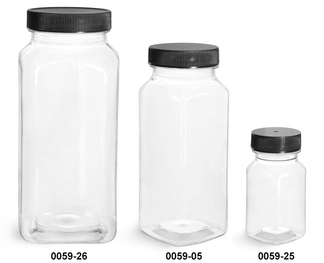 Plastic Bottles, Clear PET Square Bottles With Black Ribbed Caps