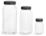 PET Plastic Bottles, Clear Square Bottles w/ Black Ribbed PE Lined Caps