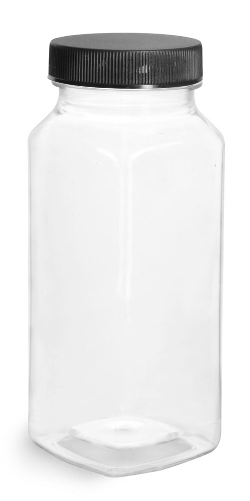 16 oz Clear PET Square Bottles w/ Black Ribbed PE Lined Caps