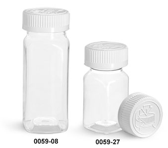 Plastic Bottles, Clear PET Square Bottles With White Child Resistant Caps