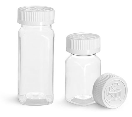 PET Plastic Bottles, Clear Square Bottles w/ White Child Resistant Caps