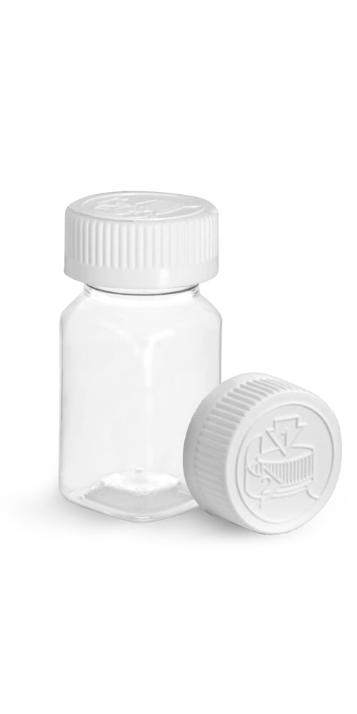 2 oz Clear PET Square Bottles w/ White Child Resistant Caps