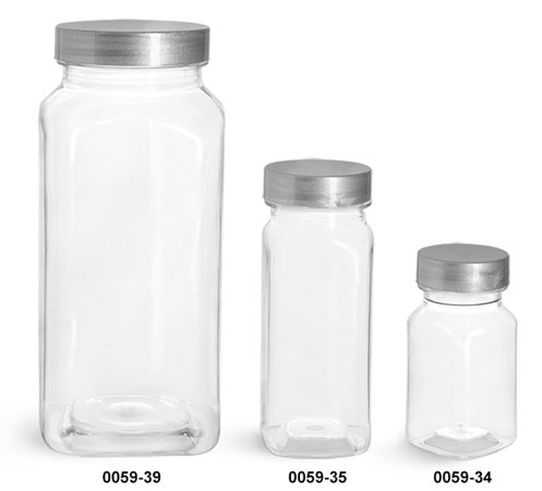 Plastic Bottles, Clear PET Square Bottles w/ Silver Lined Caps