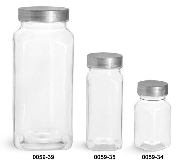 Plastic Bottles, Clear PET Square Bottles w/ Silver Lined Caps