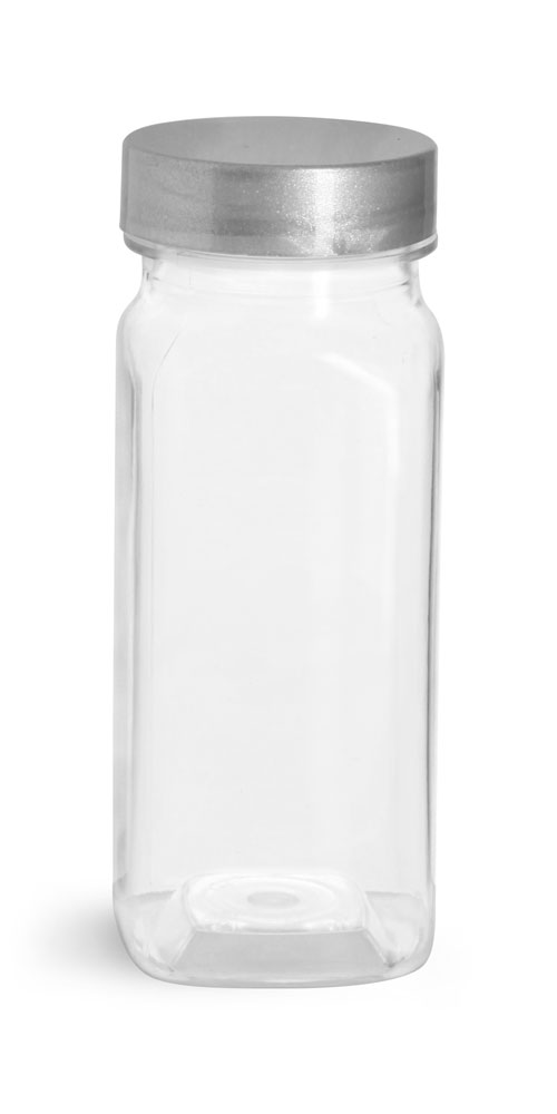 4 oz Clear PET Square Bottles w/ Silver Lined Caps