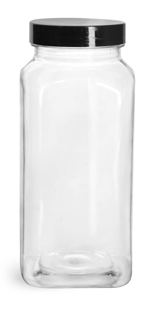 16 oz Clear PET Square Bottles w/ Smooth Black PE Lined Caps