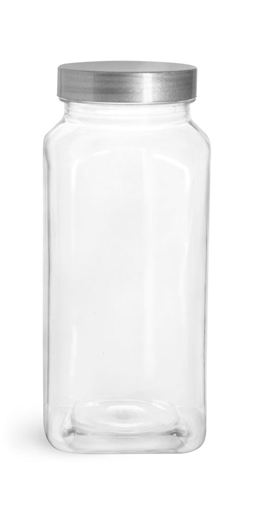 16 oz Clear PET Square Bottles w/ Silver Lined Caps